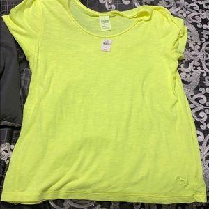 VS PINK neon yellow v-neck